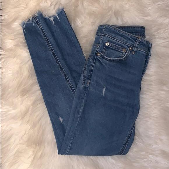 Zara Women Distressed Ankle Skinny Jeans